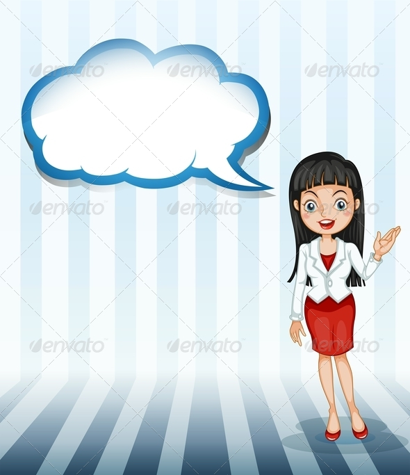 GraphicRiver Woman Talking Empty Cloud Template 8013152