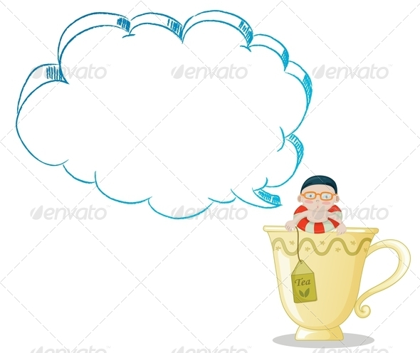 GraphicRiver Boy in a Tea Cup with Blank Callout 8013156