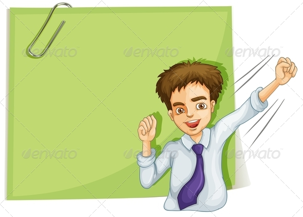 GraphicRiver Happy Businessman with Empty Signage 8013164