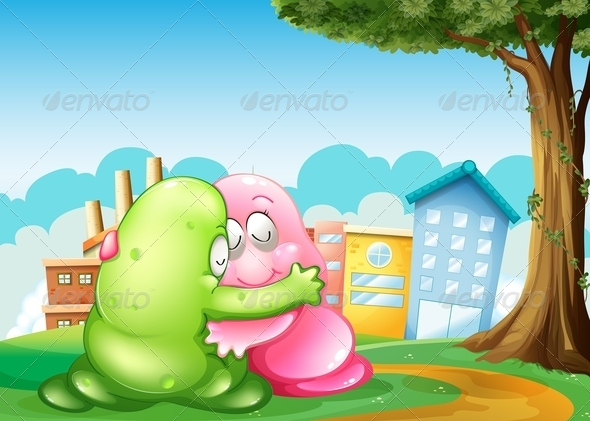 GraphicRiver Monsters at Hugging Near Town 8013166