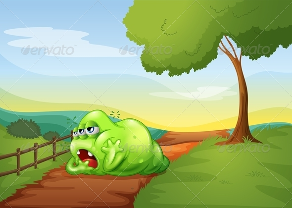 GraphicRiver Tired Monster on Pathway 8013177
