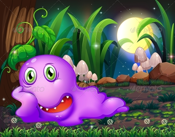 GraphicRiver Violet Monster Resting in the Forest 8013178
