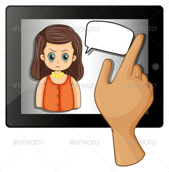 GraphicRiver Tablet Computer with Angry Woman 8013180