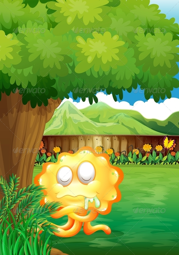 GraphicRiver Yellow Monster Under Tree in Backyard 8013184