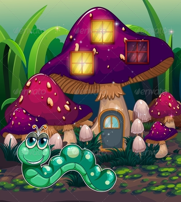 GraphicRiver Worm Near the Mushroom House 8013203