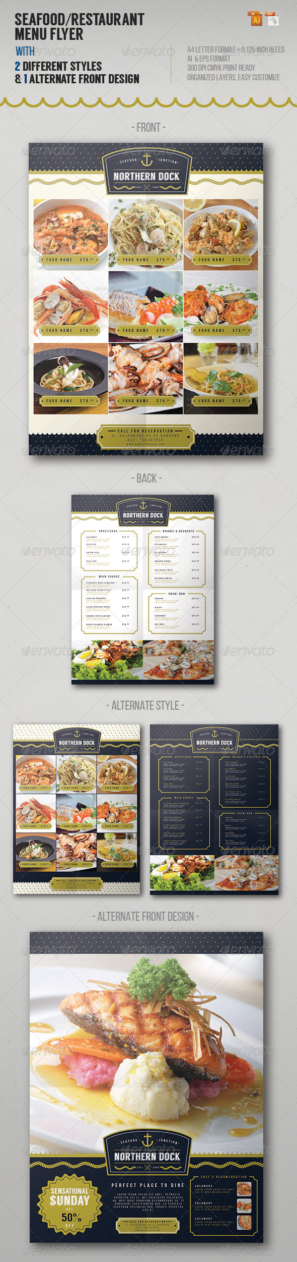 GraphicRiver Seafood Restaurant Menu Flyer 8013209
