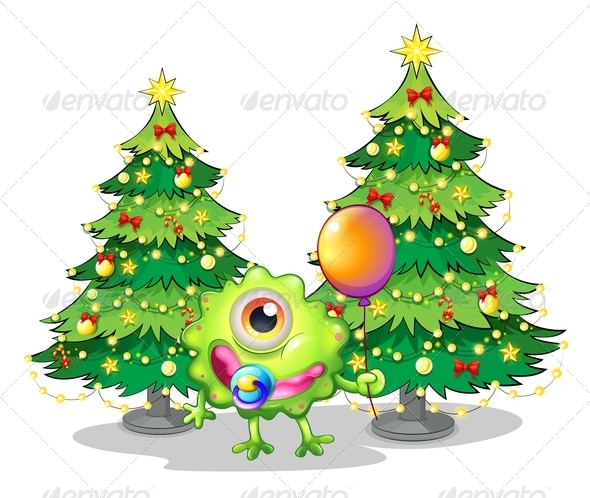 GraphicRiver Monster with Christmas Trees 8013329