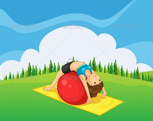 GraphicRiver Girl Exercising in the Park 8013358
