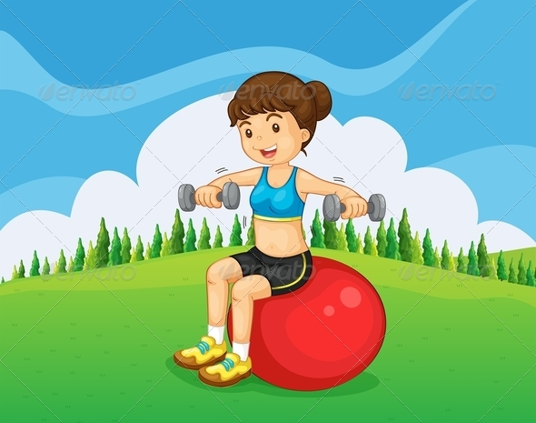 GraphicRiver Girl Exercising in the Park 8013367