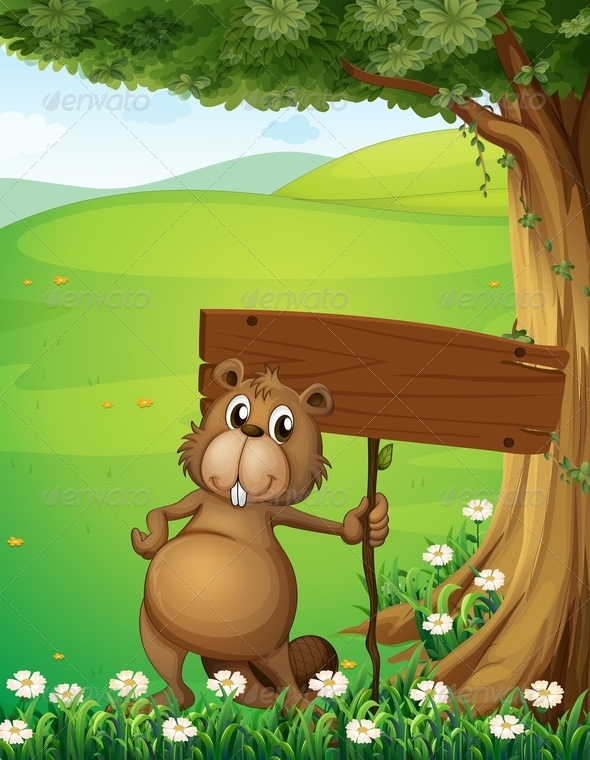 GraphicRiver Beaver Holding Empty Sign 8013376