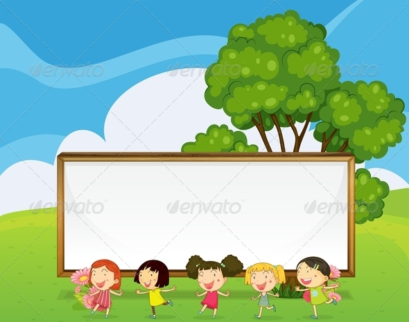 GraphicRiver Dancing Kids with Big Empty Signboard 8013377