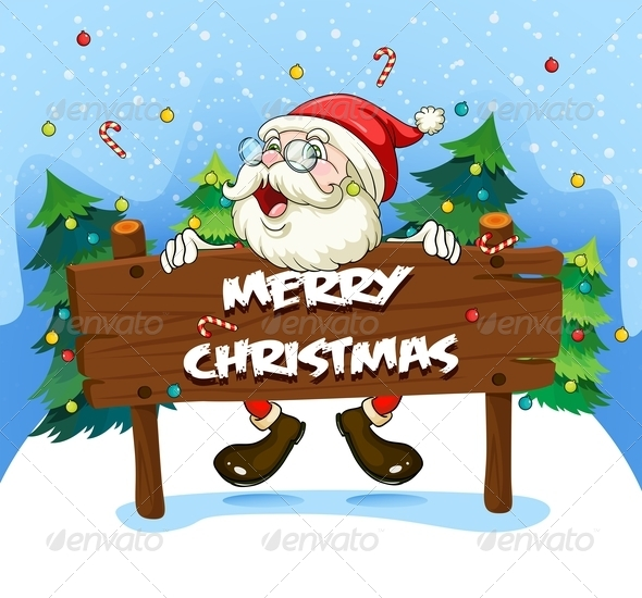 GraphicRiver Santa Claus with Wooden Signboard 8013380