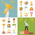 Flat Design Awards Symbols and Trophy Icons Set Vector Illustration - PhotoDune Item for Sale
