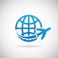 World Travel Symbol Airplane and Globe Icon Design Template Vector Illustration - PhotoDune Item for Sale