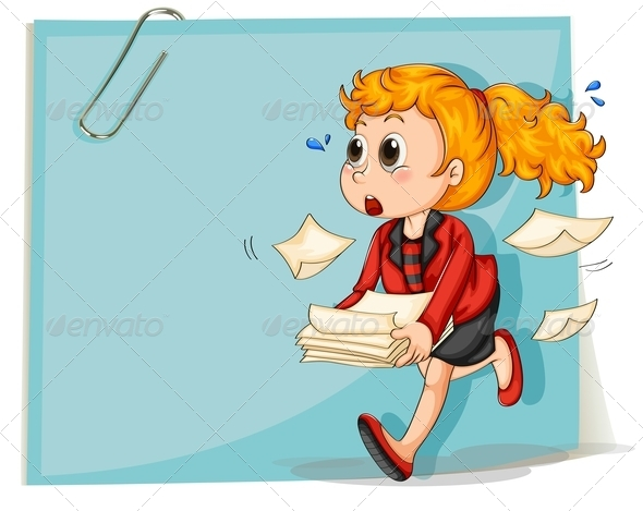 GraphicRiver Woman Running with Documents 8013386