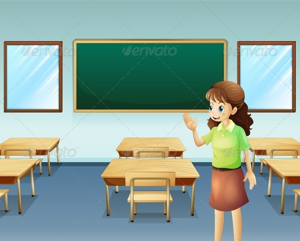 GraphicRiver Teacher In Empty Classroom 8013403