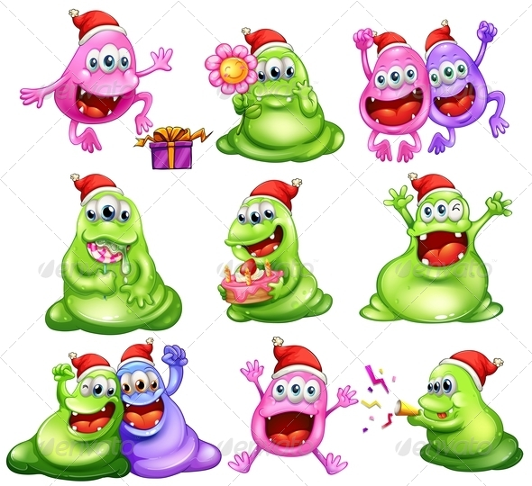 GraphicRiver Monsters Celebrating Christmas 8013405