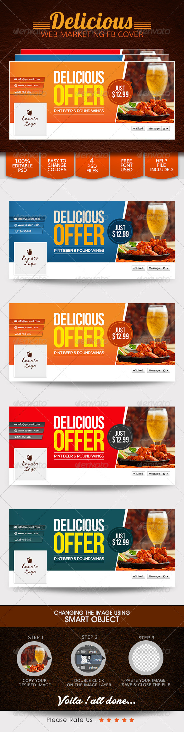 GraphicRiver Food and Restaurant Facebook Cover 8013461
