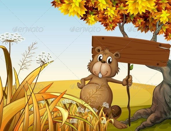 GraphicRiver A Fat Beaver Holding an Empty Signboard 8013537