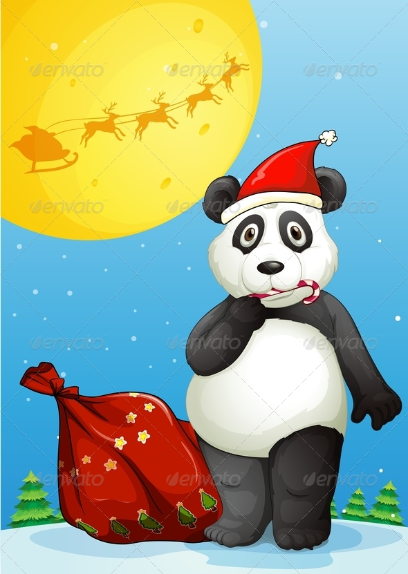GraphicRiver Panda Wearing Santa s Hat Eating a Candy Cane 8013541