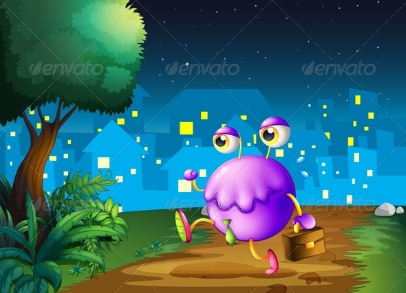 GraphicRiver A Purple Monster Holding a Bag Walking at Night 8013587