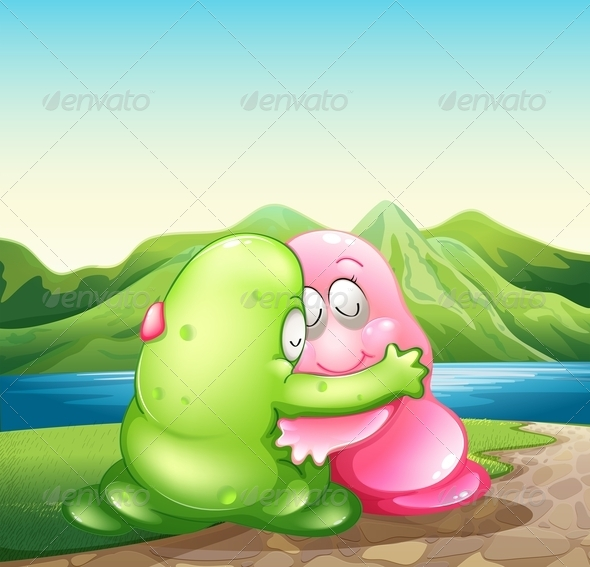 GraphicRiver Green and Pink Monster Hugging 8013596