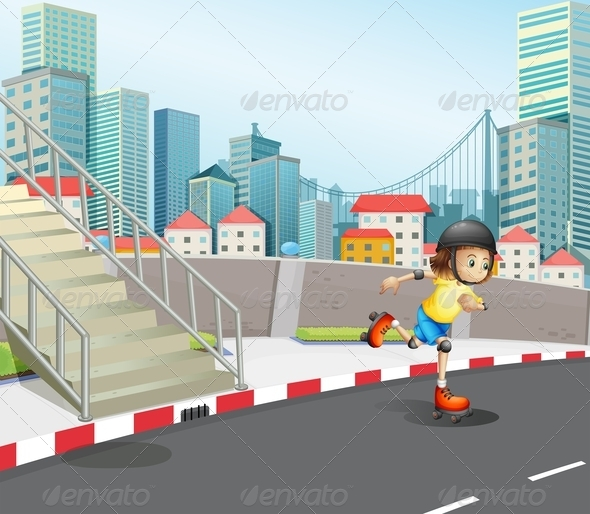 GraphicRiver Young Girl Skateboarding on a Road 8013598