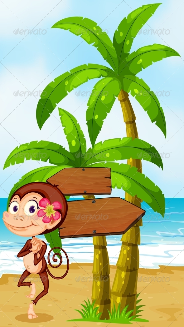 GraphicRiver Monkey in Hawaiian Attire Dancing 8013609