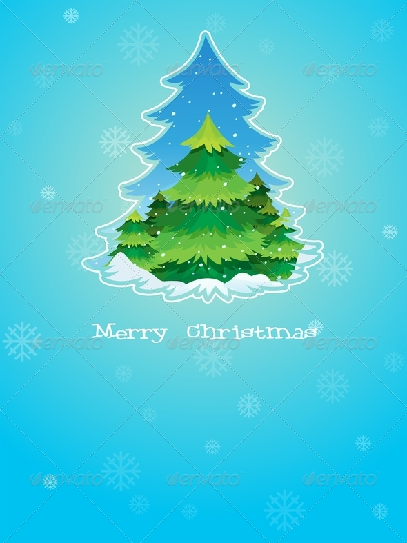 Blue Christmas Card Template with a Pine Tree