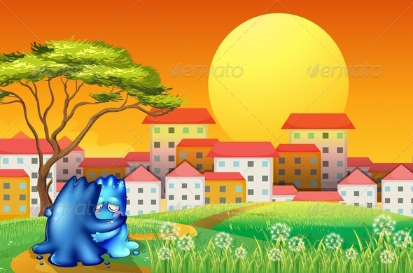 GraphicRiver Two Blue Monsters Comforting Each Other 8013640