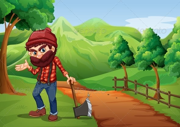 GraphicRiver Woodsman Holding an Axe on a Pathway 8013642
