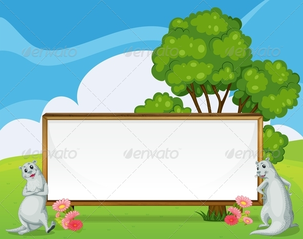 GraphicRiver Sea Lions Near an Empty Signboard 8013652