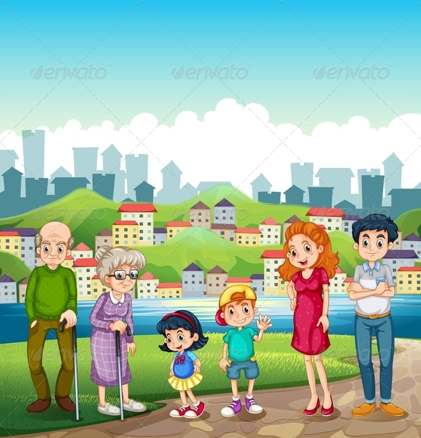 GraphicRiver Big Happy Family Standing by a Riverbank and City 8013885