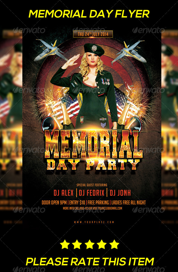 GraphicRiver Memorial Day Party Flyer 8013901