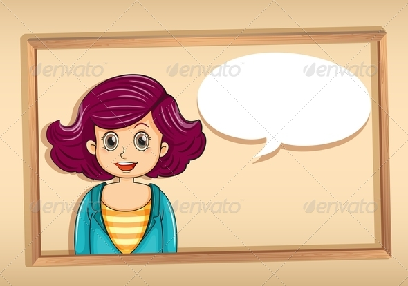 GraphicRiver Woman in Frame with Empty Speech Bubble 8013914
