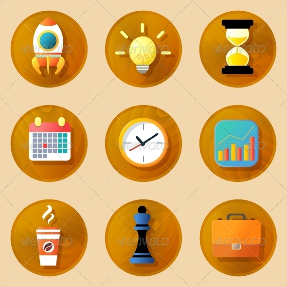 GraphicRiver Wooden Business Icons Set 8013920