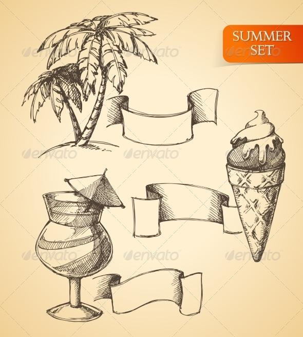 GraphicRiver Summer Sketch Set 8013983