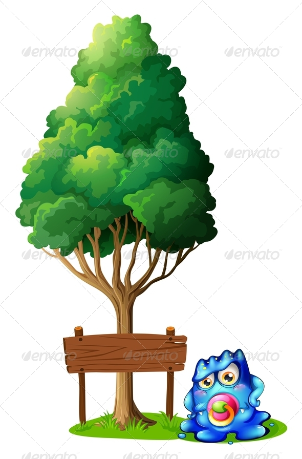 GraphicRiver Baby Monster with Tree and Empty Sign 8014018