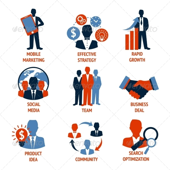 GraphicRiver Business and Management Icons Set 8014019