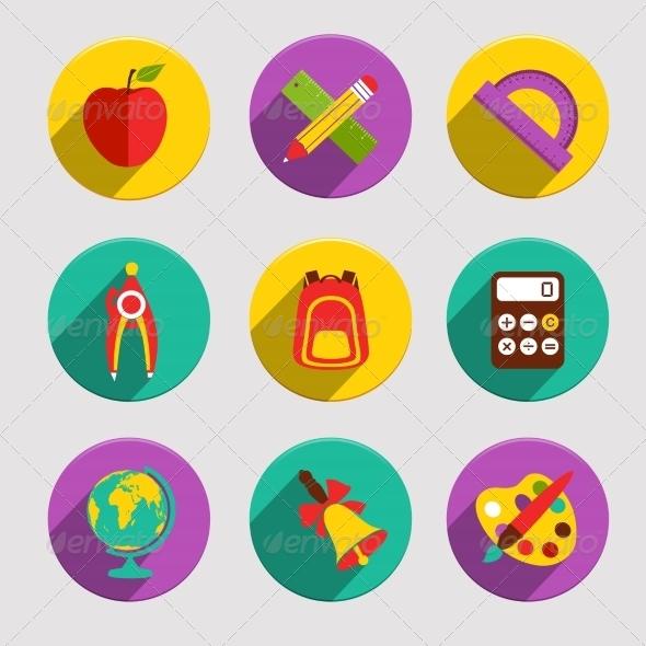 GraphicRiver Flat School Icons Set 8014050