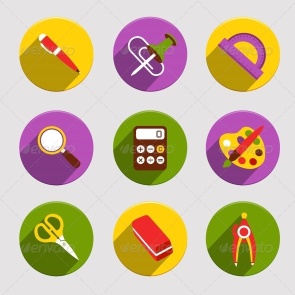 GraphicRiver Flat School Icons Set 8014051