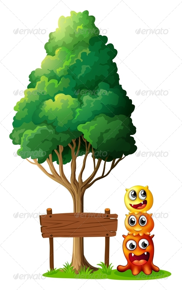 GraphicRiver Three Monsters with Tree and Empty Sign 8014111