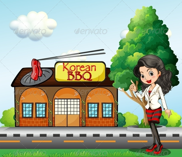 Woman in Front of Korean BBQ Store