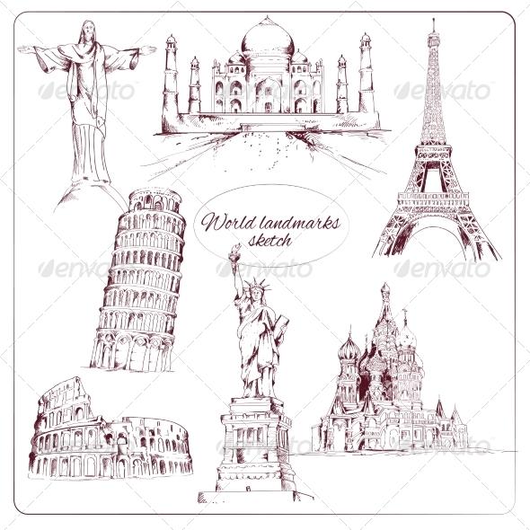 GraphicRiver World Landmark Sketch 8014179
