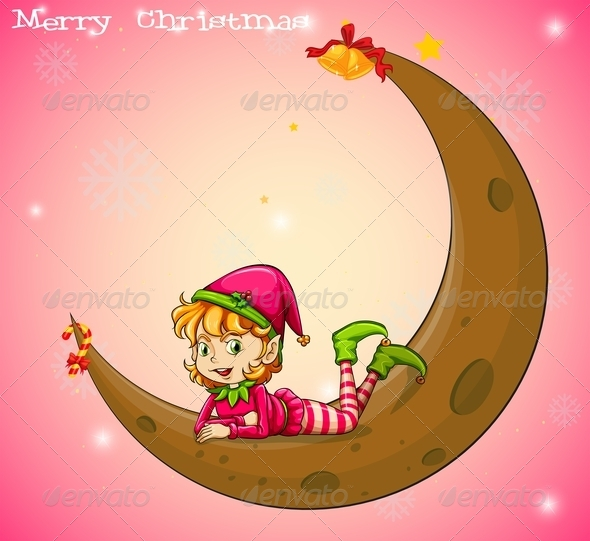GraphicRiver Christmas Elf and Moon 8014202