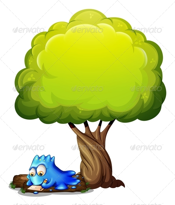 GraphicRiver Monster Writing a Letter Under Tree 8014598
