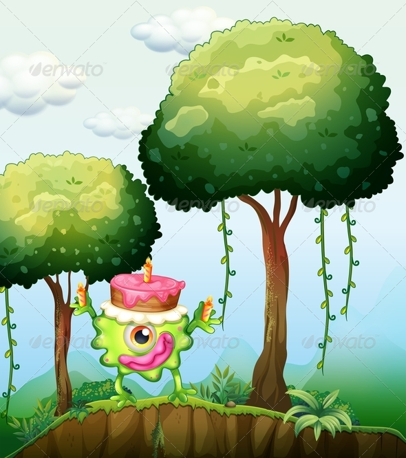 Monster with Cake by the Trees