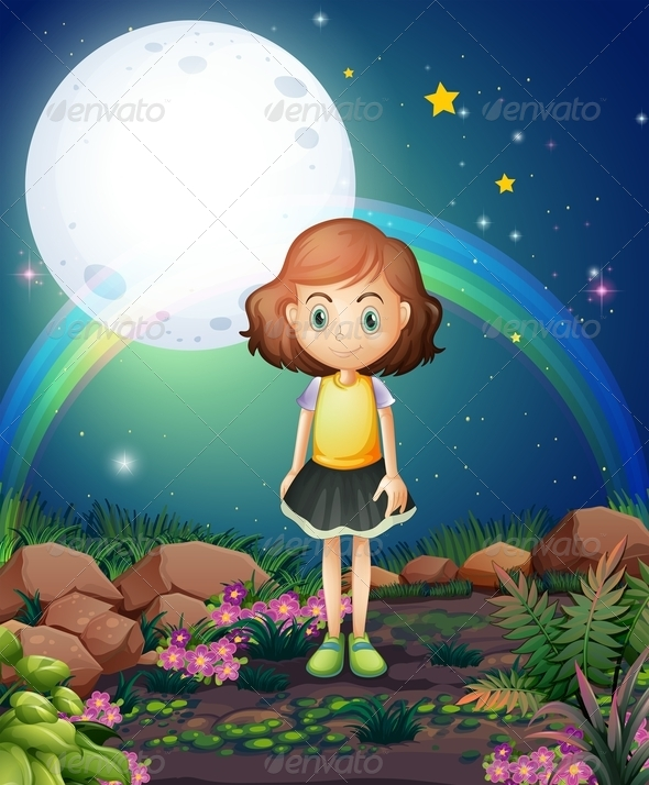 GraphicRiver Girl Under Bright Fullmoon 8014618