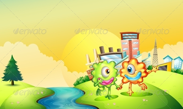 GraphicRiver One-Eyed Monsters Playing at Riverbank 8014653