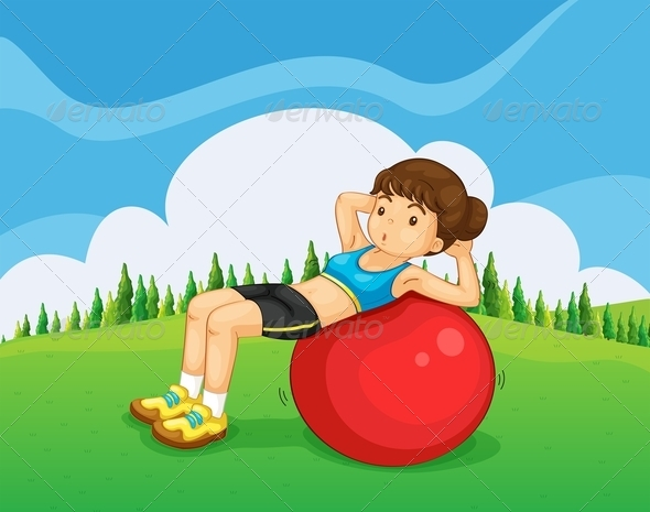 GraphicRiver Girl Exercising in the Park 8014661